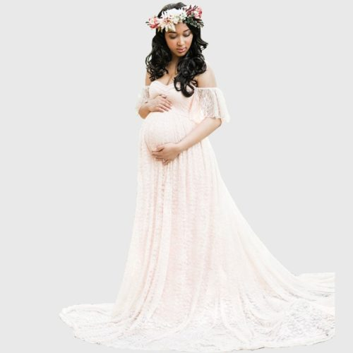 Maternity Maxi Dress Lace Gown