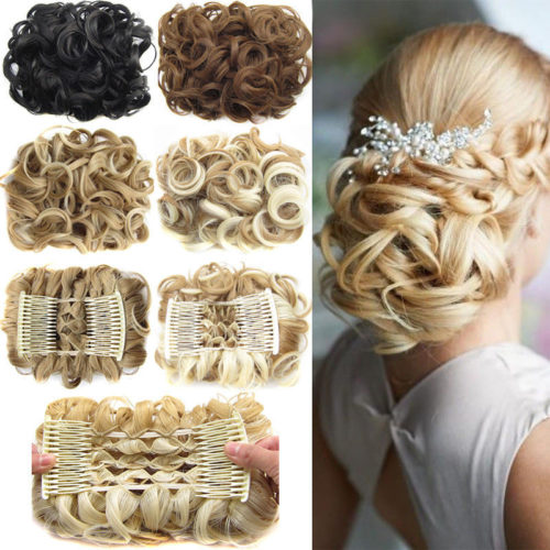 Clip In Hair Extensions Comb Hair Bun