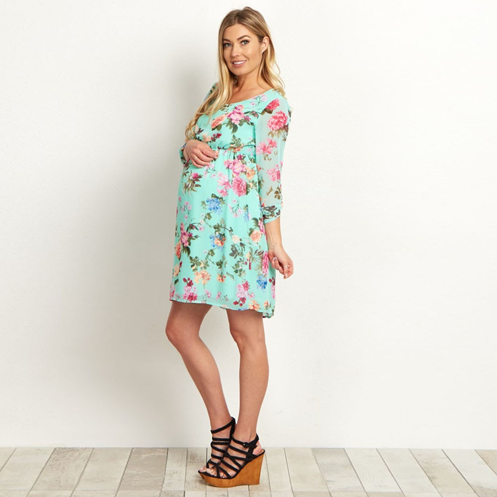 55e87606d Floral Maternity Dress Pregnancy Clothes - Life Changing Products