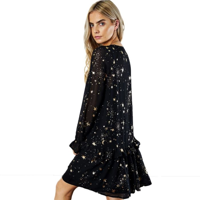 Sheer Dress Galaxy Print