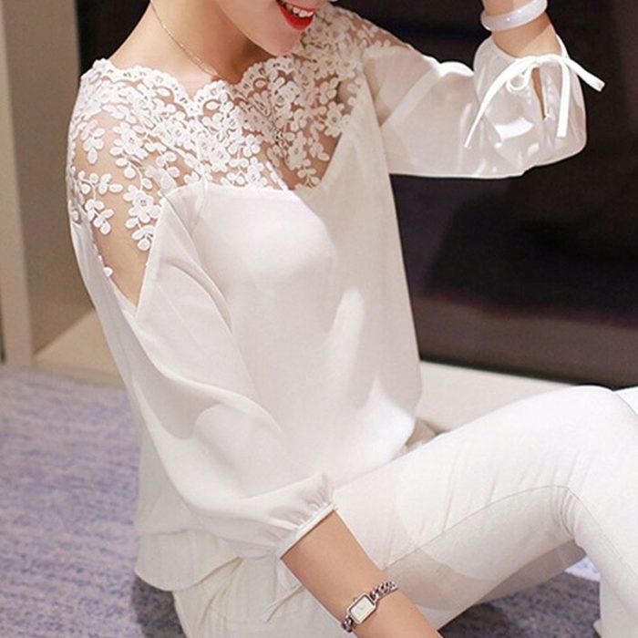 Chiffon Blouse Ladies Lace Top