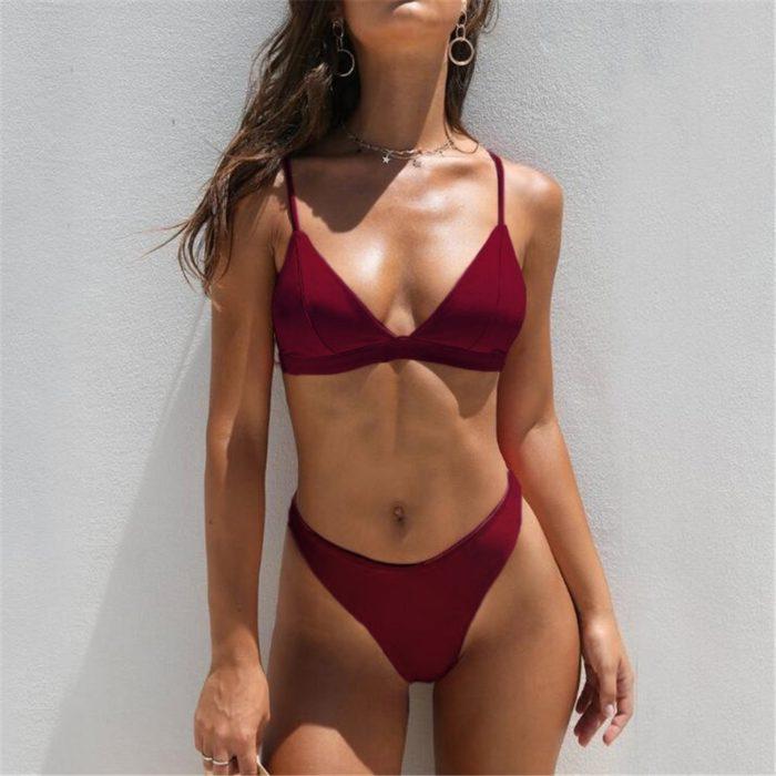 Push up Bikini Mid-waist Two Piece