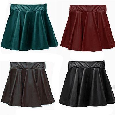 Leather Mini Skirt Pleated A-Line Skirt