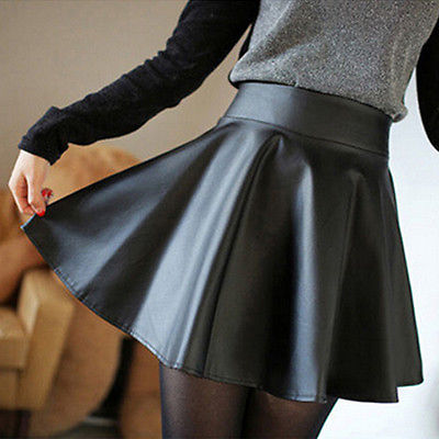 Leather Mini Skirt Pleated A-Line Skirt