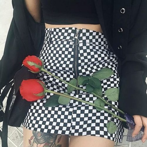 Checkered Skirt High-Waist Casual Wear