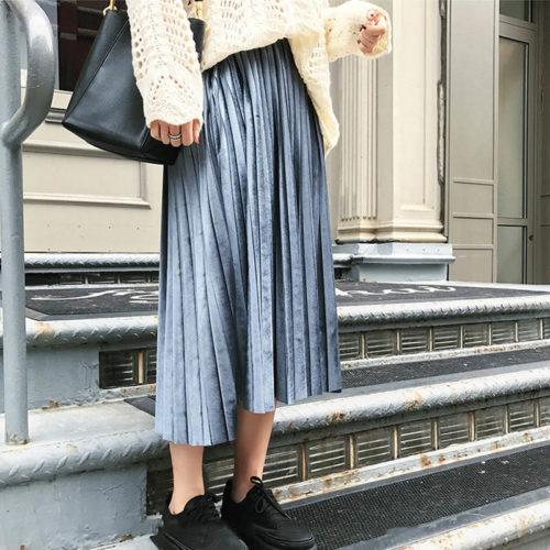 Velvet Skirt Pleated High-Waist Wear