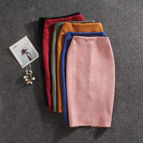 Long Pencil Skirt Suede Finish