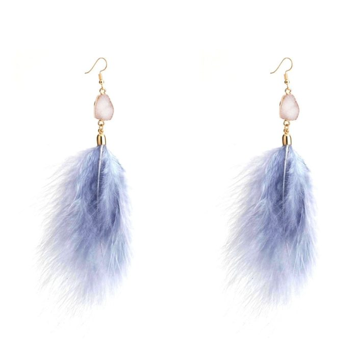 Feather Earrings Trendy Statement Jewelry