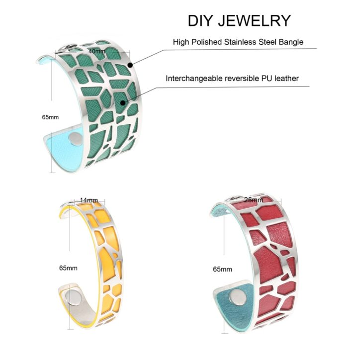 Cuff Bracelets Reversible Leather Bangles