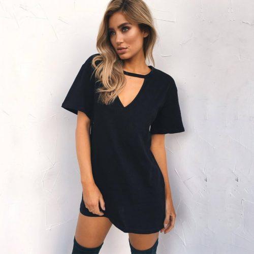 Choker Dress V-Neck Casual Wear