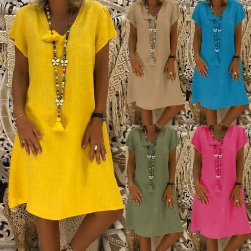 V Neck Dress Linen Summer Wear