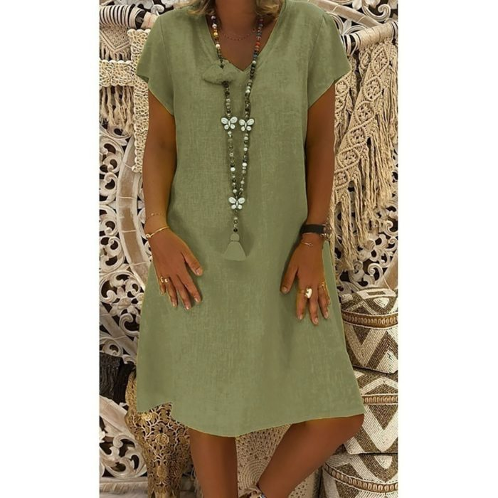 V Neck Dress Linen Summer Wear