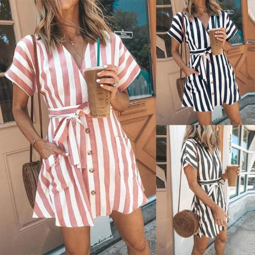 Striped Shirt Dress Casual Look