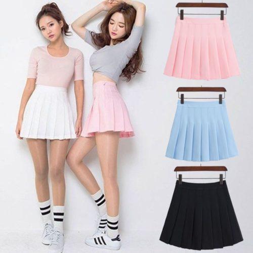 Pleated Mini Skirt Sexy Look