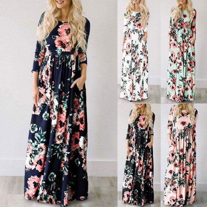 Floral Print Dress Maxi Style