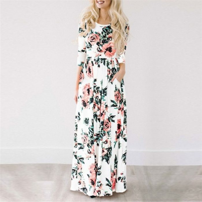 Floral Print Dress Maxi Style