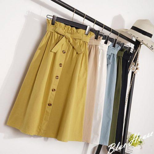 High Waisted Midi Skirt Ladies Wear