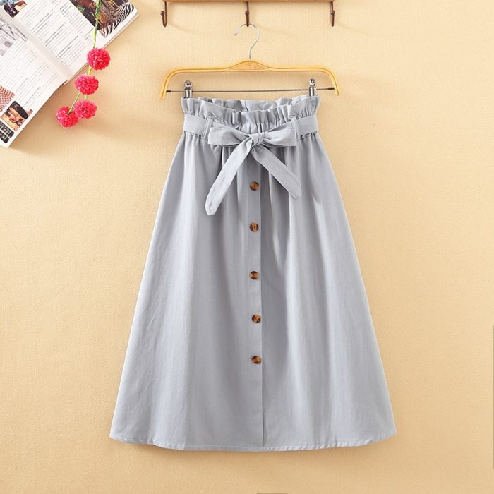 High Waisted Midi Skirt Ladies Wear