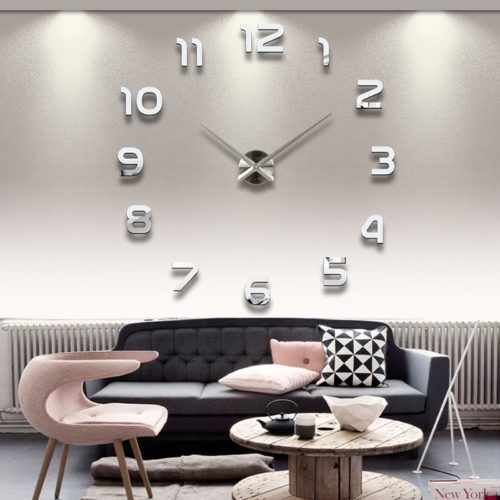 Mirrored Wall Clock Home Decor Stickers