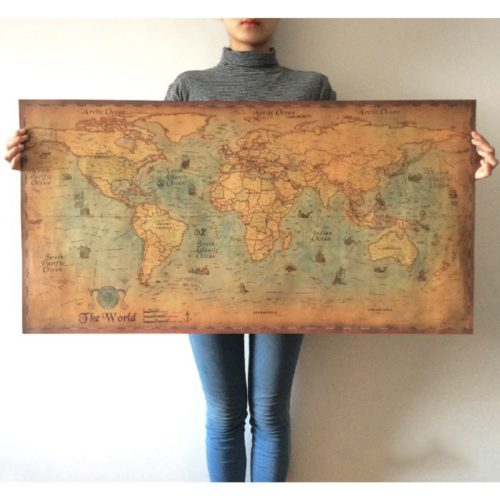 World Map Poster Retro Wall Decor