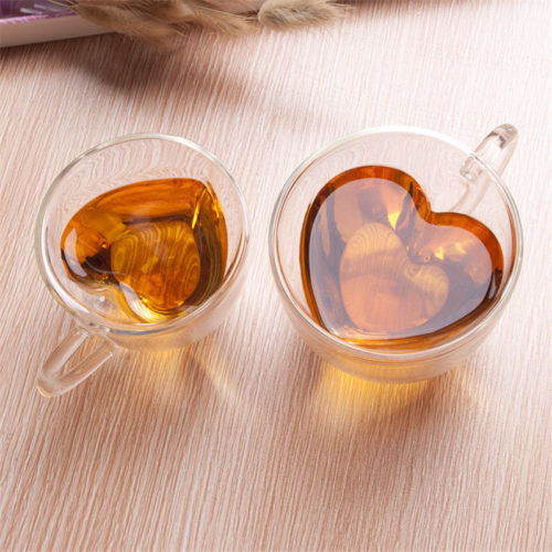 Glass Coffee Cups Heart Shape