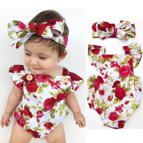 Rompers for Girls Toddler Floral Design