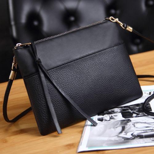 Black Shoulder Bag Envelope Shape Design