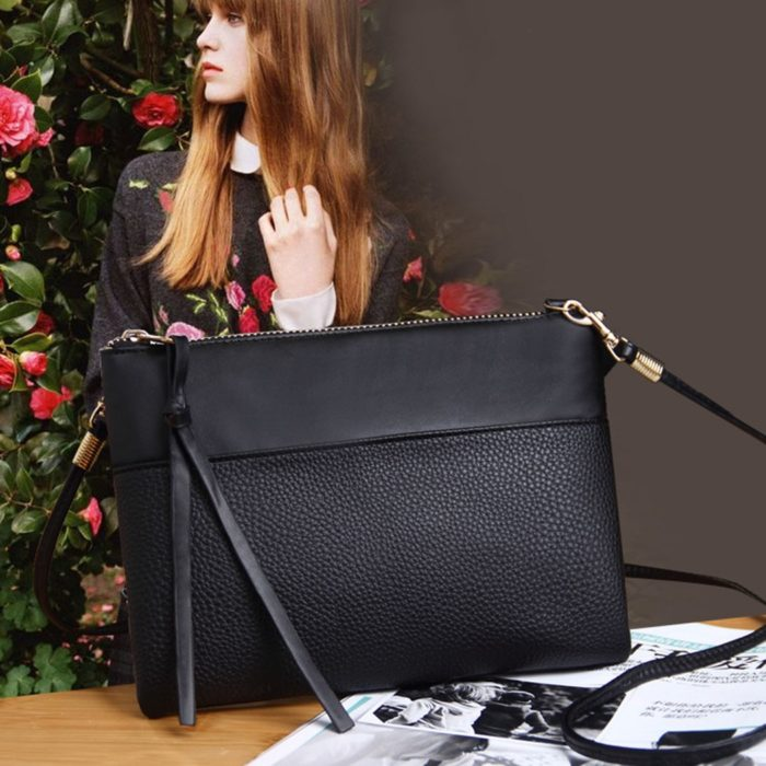 Black Shoulder Bag Envelope Shape Design