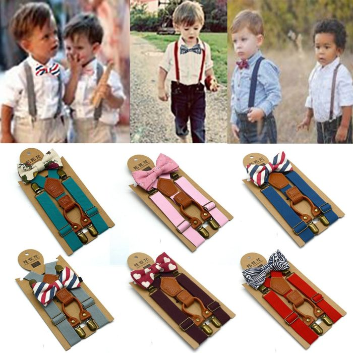 Boys Suspenders Bow Tie Set