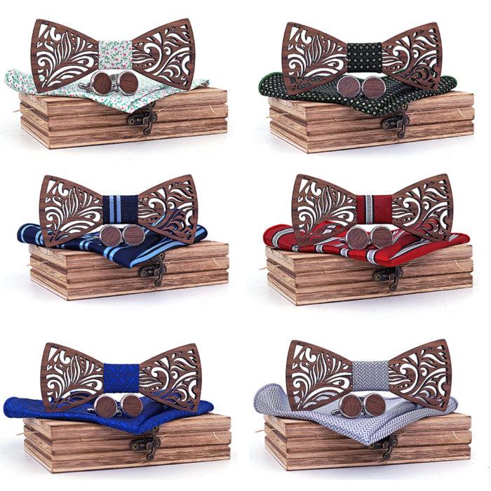 Wooden Bow Tie Mens Hanky Set
