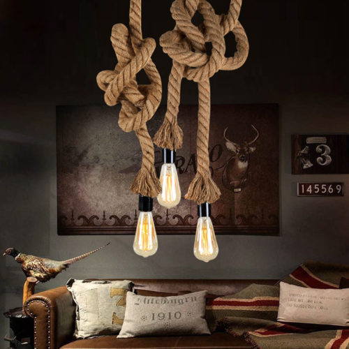 Pendant Lamp Vintage Hanging Rope