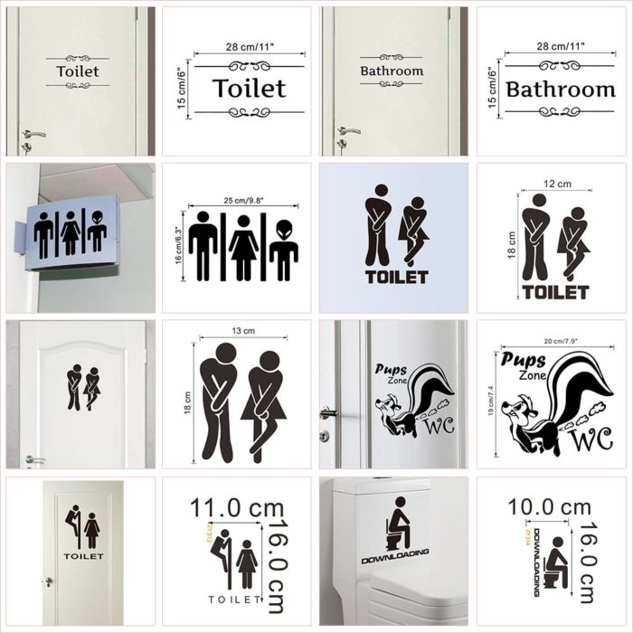 Toilet Signs Fun Bathroom Labels