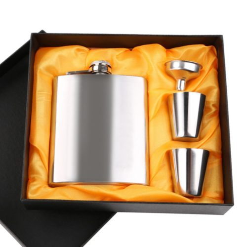 Alcohol Flask 4PC Stainless Steel Set