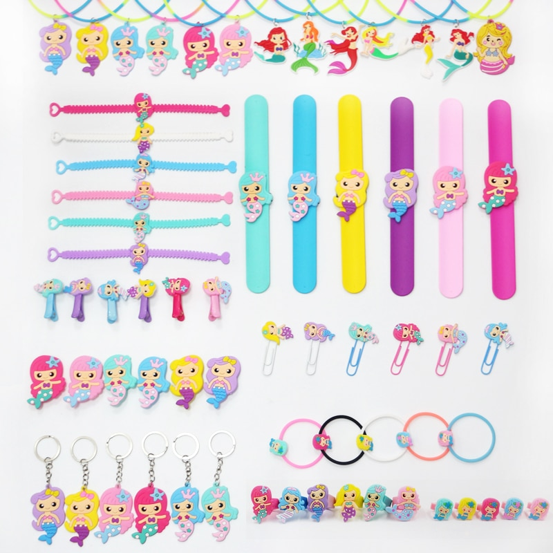 24Pack Mermaid Party Supplies Bracelet Necklace Key Chains For Kids Birthday Fav