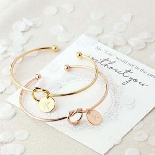 Gold Charm Bracelet Name Initial
