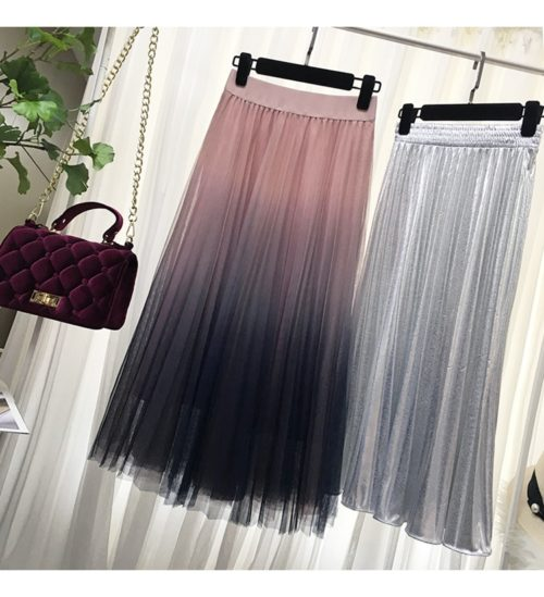 Long Tulle Skirt Gradient Color