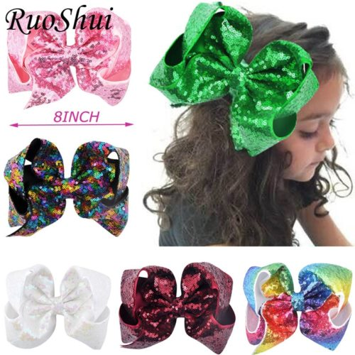 Hair Ribbon 8 Inch Sequin Bow Clip