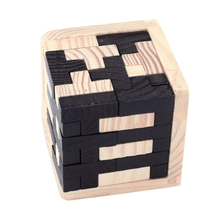 Wood Cube Puzzle 3D Interlocking