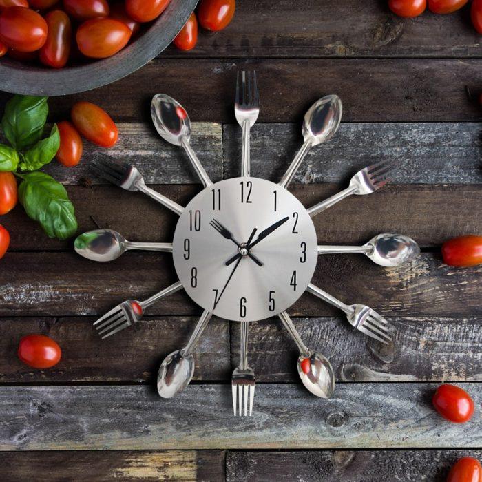 Kitchen Wall Clocks Cutlery Design