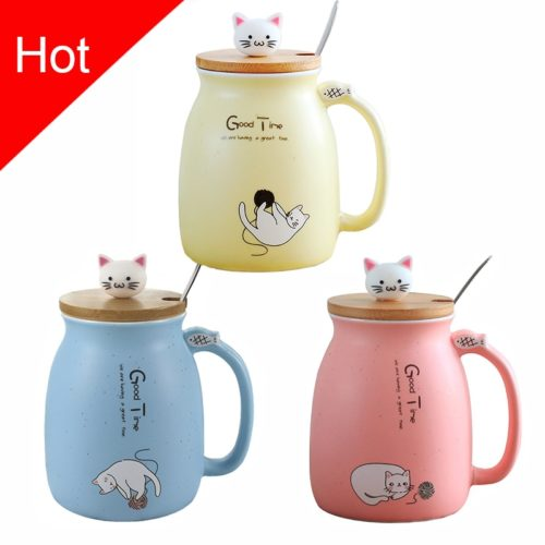 Cat Mug Ceramic With Cover