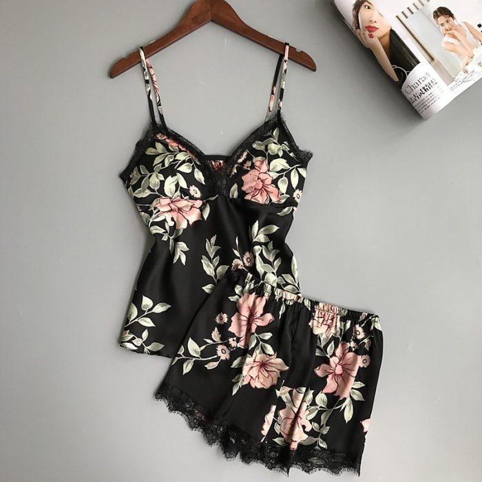 Ladies Nightwear Silk Floral Sleepwear