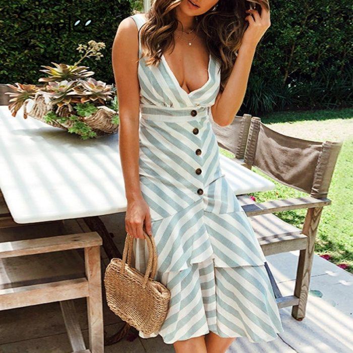 Striped Dress Sexy Ladies Wear