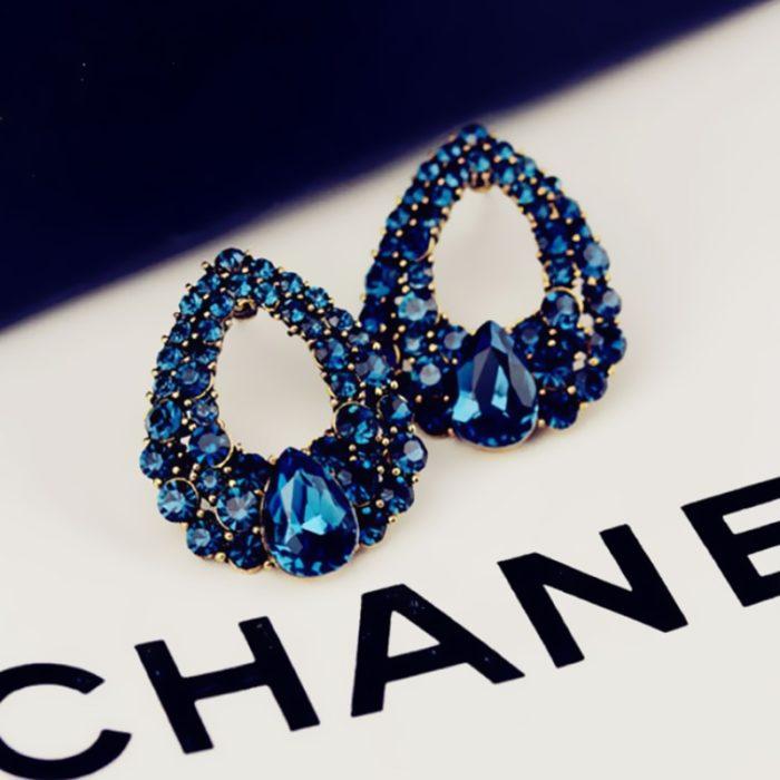 Blue Earrings Crystal Teardrop