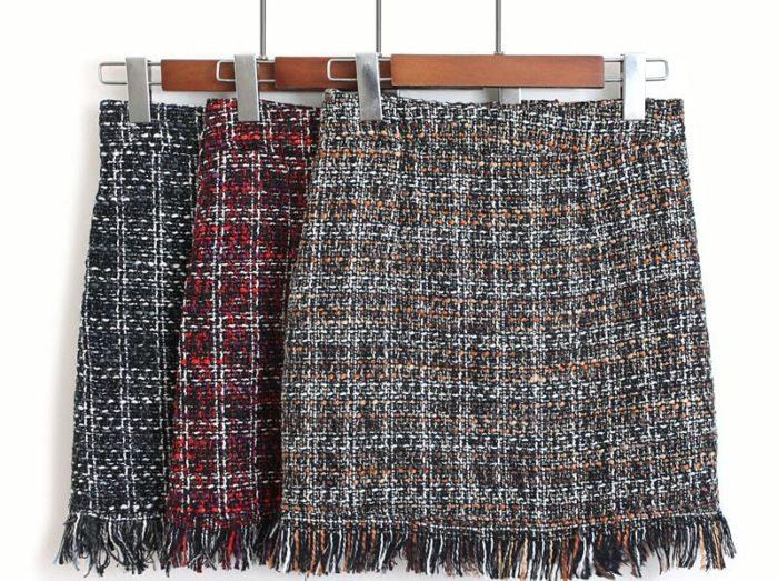 Wool Skirt High Waist Design