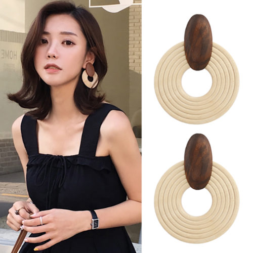 Wooden Earrings Round Fashion Statement