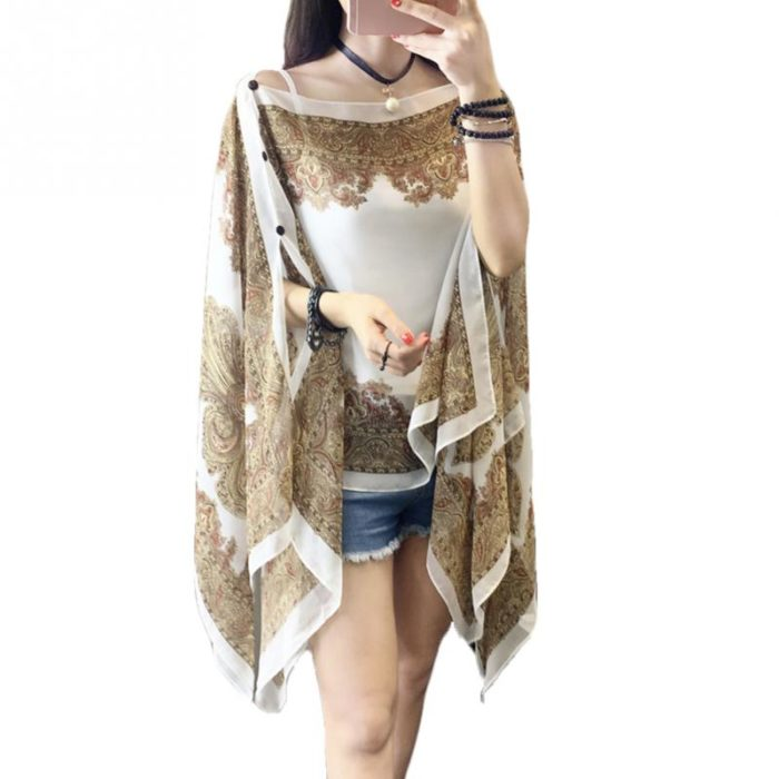 Womens Poncho Printed Shawl Cover