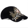 Womens Baseball Cap Flower Rhinestone