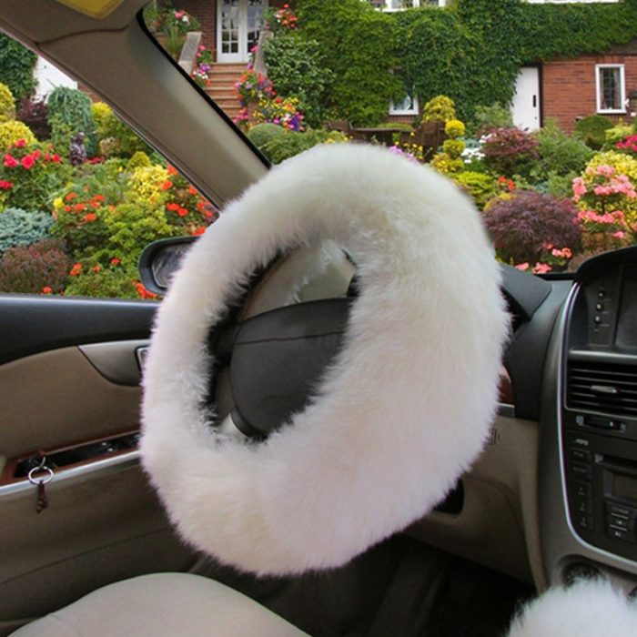 Furry Steering Wheel Cover Warm Wool