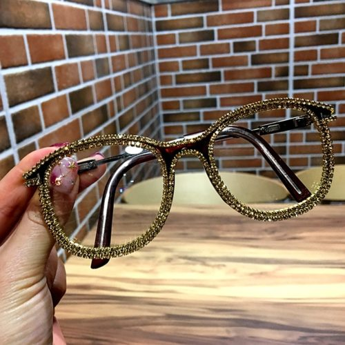 Clear Glasses Gold Rhinestone Eyewear
