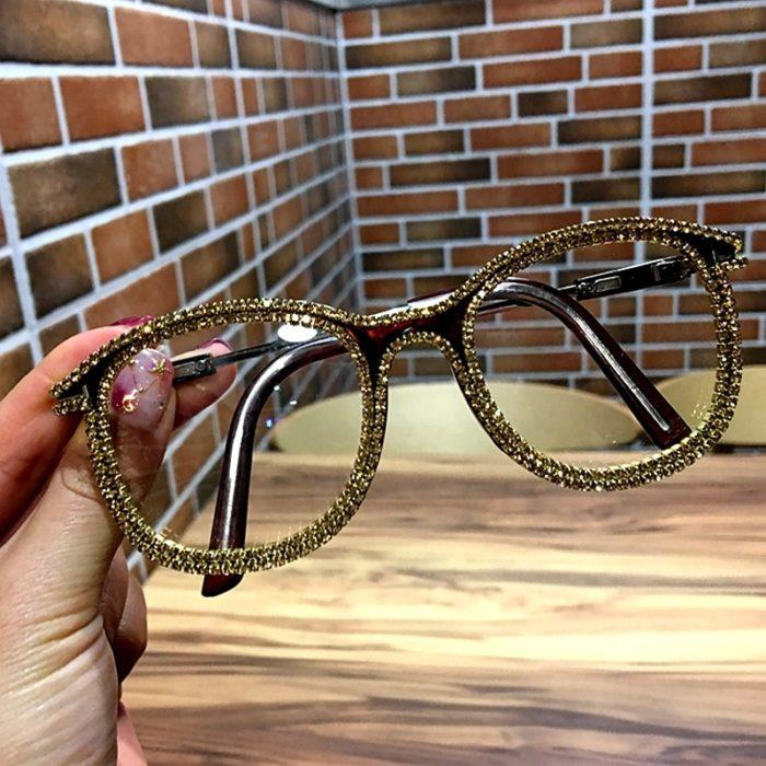 Clear Glasses Gold Rhinestone Eyewear